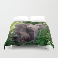 baby elephant Duvet Covers featuring Baby Elephant by Erika Kaisersot