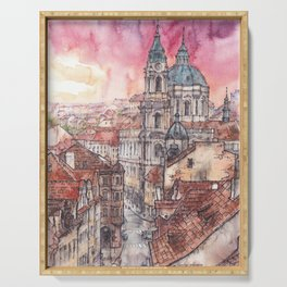 Evening in Prague ink & watercolor illustration Serving Tray