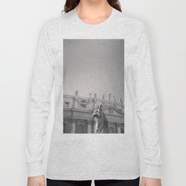 St. Peter's Basilica, Vatican City, Rome, architecture photography, black & white, Baroque Long Sleeve T-shirt