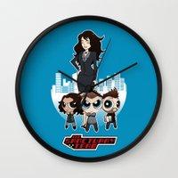 powerpuff girls Wall Clocks featuring Powerpuff Sanctuary by squidesign
