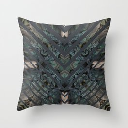STRIPED FEATHERS - DARK ANGLE Throw Pillow