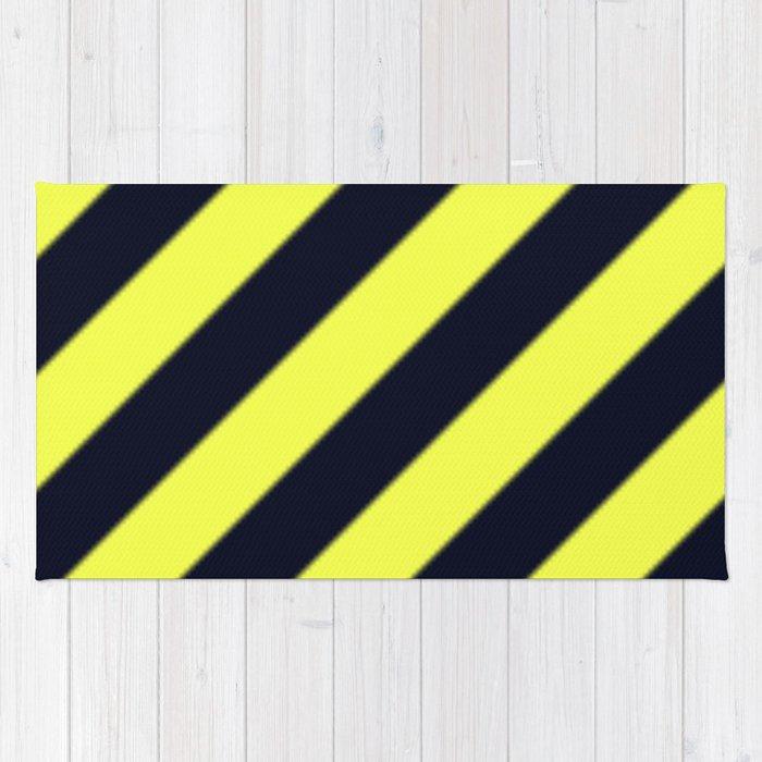 Black and Yellow Diagonal Stripes Rug