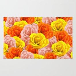 Roses Pastels Floral Collage Rug