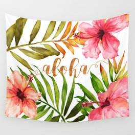 Aloha Watercolor Tropical Hawaiian leaves and flowers Wall Tapestry