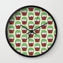 Hedgehogs disguised as cactuses Wall Clock