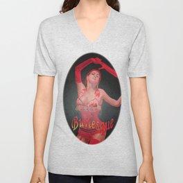 Burlesque Dancer Wearing Vintage Red Corset and Gloves  Unisex V-Neck