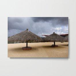 Empty beach due to incoming rain storm Metal Print