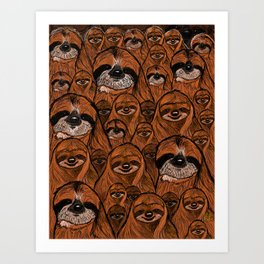 Mountains and mountains of sloths. Art Print