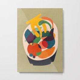 Fruits in wooden bowl Metal Print
