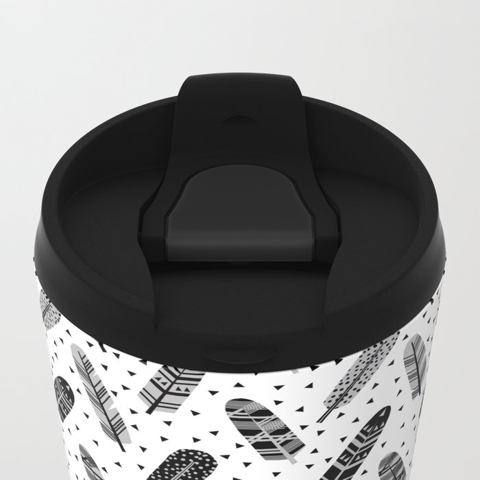 Feathers black and white triangle geometric modern trendy hipster boho southwest native style kids Metal Travel Mug
