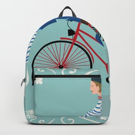 Vintage Style Frenchman on a Bicycle with Baguette Art Print Backpack