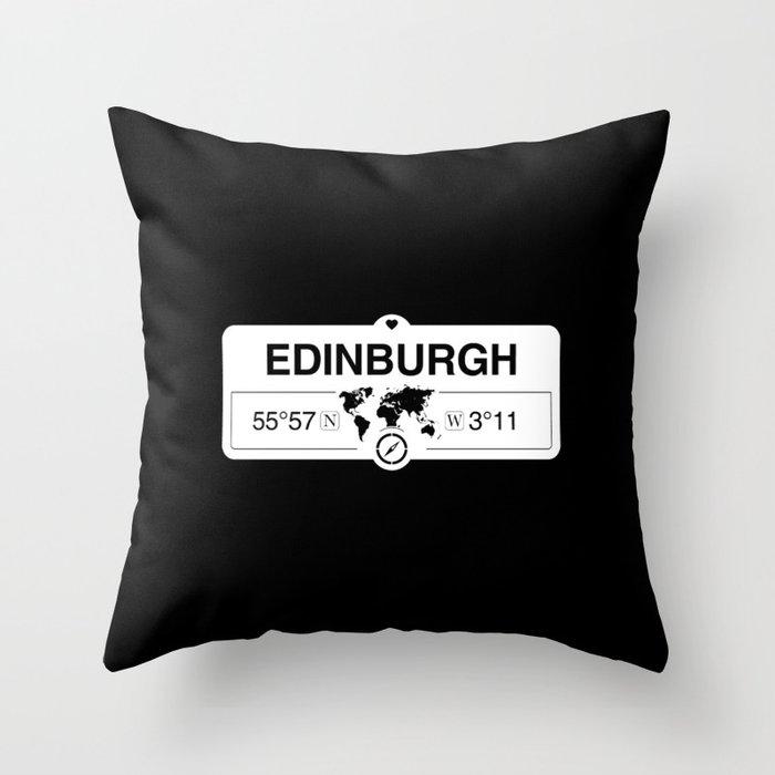 Edinburgh Scotland GPS Coordinates Map Artwork with Compass Throw Pillow