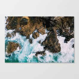 Ocean Waves Crushing On Rocky Landscape, Drone Photography, Aerial Landscape Photo, Ocean Wall Art Canvas Print