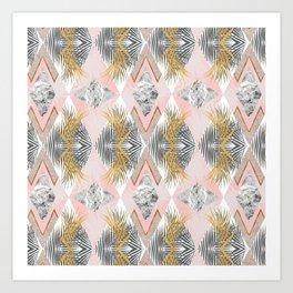 Marbled tropical geometric pattern II Art Print