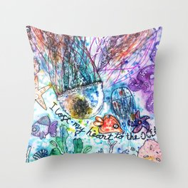 I Lost my Heart to the Ocean Throw Pillow
