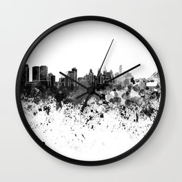 Philadelphia skyline in black watercolor Wall Clock