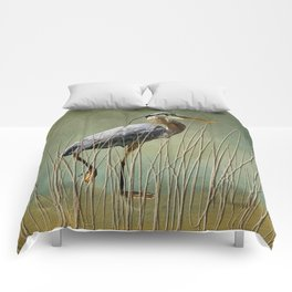 Great Blue At The Beach Comforters