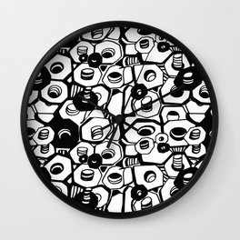 the nuts and bolts of it, graphic, minimal, industrial, monochrome Wall Clock