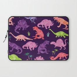 Purple Pink Watercolor Dinosaur Silhouette Pattern Laptop Sleeve
