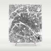 paris map Shower Curtains featuring PARIS by Maps Factory