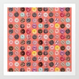 donuts coral pink Art Print