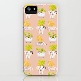 Kawaii dog cat hedgehog succulents iPhone Case
