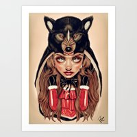 red riding hood Art Prints featuring Red Riding Hood by Giulio Rossi