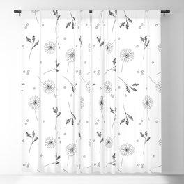 Doodle Floral Pattern Blackout Curtain