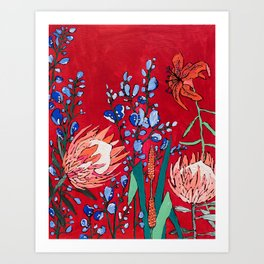 Red and Blue Floral with Peach Proteas Art Print