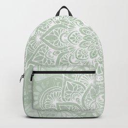 Mandala, Yoga Love, Sage Green, Boho Print Backpack