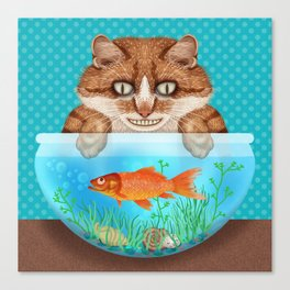 Cat with Goldfish Bowl Whimsical Kitty and Fish Canvas Print