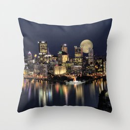 Moon Rise Over Pittsburgh Throw Pillow