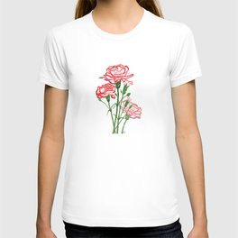 pink and red carnation watercolor painting T-shirt