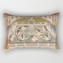 Women Bathing, Fayzullah, 1765 - Vintage Indian Painting Rectangular Pillow