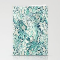 fig Stationery Cards featuring Fig Leaf Fancy - a pattern in teal and grey by micklyn