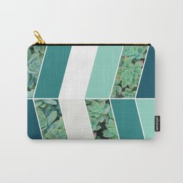 Teal Herringbone #society6 #teal #succulent Carry-All Pouch