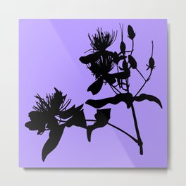 Black Flower Silhouette On Purple Background Metal Print