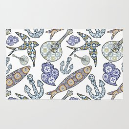 Collection of traditional Portuguese icons in seamless pattern. Rug