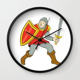 Medieval Knight Shield Sword Standing Cartoon Wall Clock