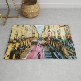 Beautiful Pink Street Downtown Lisbon City, Wall Art Print, Modern Architecture Art, Poster Decor Rug