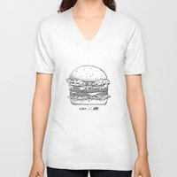 burger V-neck T-shirts featuring Burger by Les Très Tresses