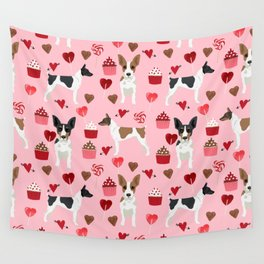 Rat Terrier valentines day cupcakes love hearts dog breed pet art dog pattern gifts unique pure bree Wall Tapestry