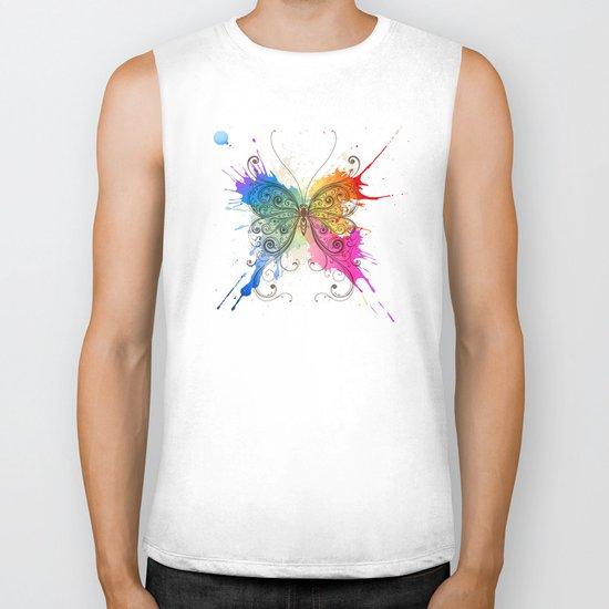Butterfly Color Explosion Biker Tank