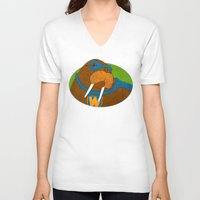 walrus V-neck T-shirts featuring Walrus by subpatch