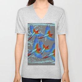 SWIRLING BLUE-GREY FLYING MACAWS ART Unisex V-Neck