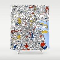mondrian Shower Curtains featuring Dublin mondrian by Mondrian Maps
