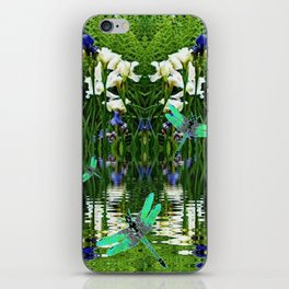 TURQUOISE DRAGONFLIES IRIS WATER REFLECTIONS iPhone Skin