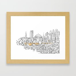 Modern and old Istanbul panorama drawing Framed Art Print