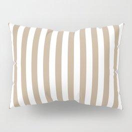 Pantone Hazelnut and White Stripes, Wide Vertical Line Pattern Pillow Sham