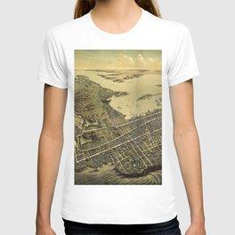 1878 Newport - Aquidneck Island, Rhode Island Lithograph Wall Art T-shirt